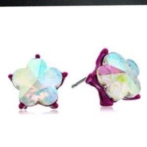Betsey Johnson pink iridescent stud earrings